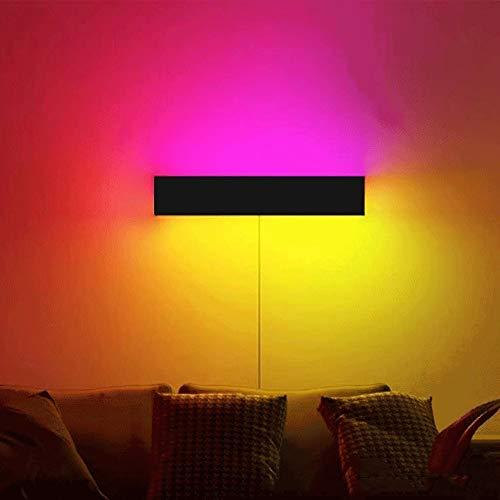 HHKQ Moderno RGB Apliques de Pared Rectangular, Lámpara de Pared Interior con Interruptor y Cable, Color LED Luz De La Atmósfera Regulable con Mando a Distancia