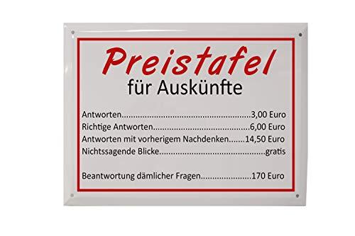 martoli Blechschild mit Spruch: Preistafel für Auskünfte