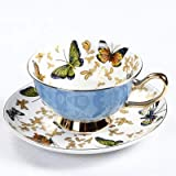 Zodensot Juego de tazas de café de porcelana con diseño de mariposas coloridas tazas de té y platillos de porcelana para oficina británica