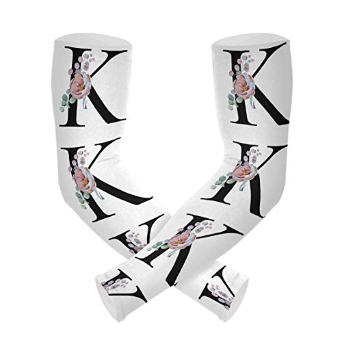AUUXVA BETTKEN Cooling Arm Sleeves for Men Women Floral Flower K Letter Quote Sun UV Protection Compression Tattoo Sleeve Cover Shield Basketball Baseball Running Outdoor Sports,1 Pair