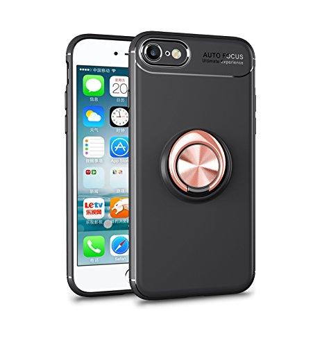 Yobby Weiches Silikon Hülle für iPhone 7, iPhone 8 Ultra Dünn Handyhülle mit 360 Grad Drehbar Ringhalter Ständer Magnetisch Autohalterung Stoßfest Kratzfest Schutzhülle-Rose Gold