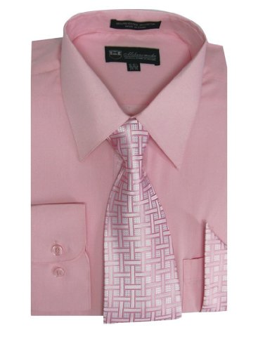 Milano Moda Men's Long Sleeve Dress Shirt with Matching Tie and Handkie SG21A-Pink-20-20 1/2-36-37