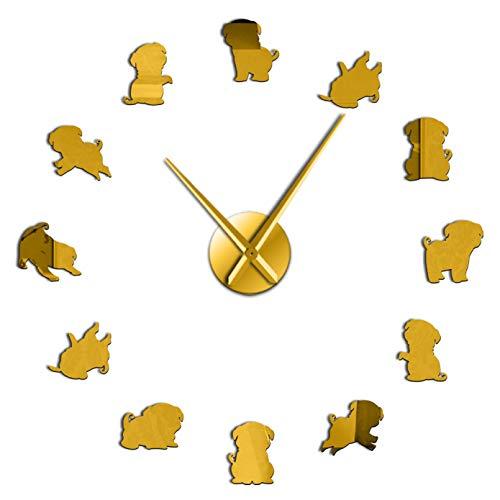 Pug Mirror Surface Stickers Dog Breed Dutch Mastiff Wall Art Modern Decorative Clock 3D DIY Large Wall Clock Pug Gifts