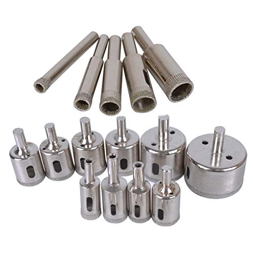 TECKE 15 Pcs 5-50mm Diamond Drill Bit Set Marble and Ceramic Hollow Core Extractor Remover Tool Granite Hole Saw Cutter Tool Set