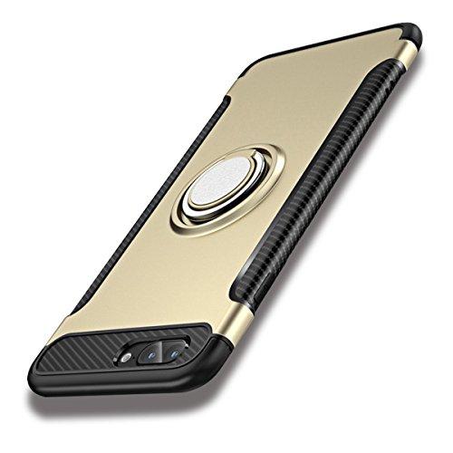 iPhone SE 第1世代 / 5s / 5 ケース ハード ハイブリッド シリコン + ポリカーボネート 二重構造 耐衝撃 リング付き 落下防止 スタンド機能 マグネット式車載ホルダー対応 滑り止め 軽量 薄型 (ゴールド)