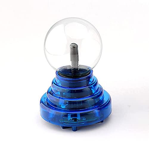 Bola De Plasma De 3 Pulgadas Lámpara De Plasma De Inducción Táctil De Luz Roja Bola Electrostática Alimentada por USB para Fiestas, Decoraciones, Utilería,Blue Base