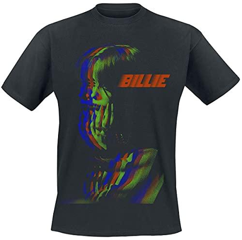 Eilish, Billie 3D Billie Racer Hombre Camiseta Negro L, 100% algodón, Regular
