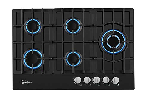 Image of Empava 5 Italy Sabaf Burners Gas Stove Cooktop Black Tempered Glass EMPV-30GC5L70A, 30 Inch: Bestviewsreviews