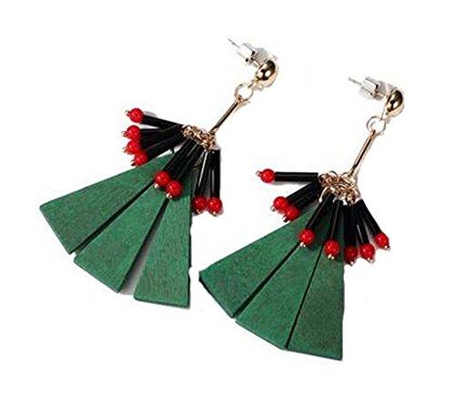 Boucles d'oreilles en forme de diamant de style national Boucles d'oreilles vintage, Vert