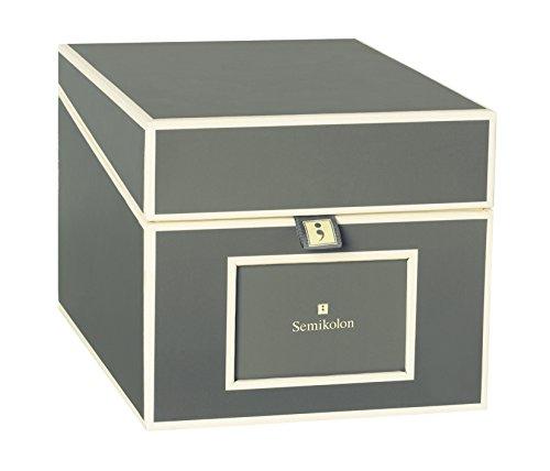 Semikolon (352558) CD und Fotobox grey (grau) - Aufbewahrungs-Box mit 5 variablen Registerkarten - Box im Format 17,7 x 15,7 x 25,6 cm