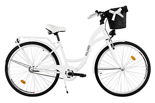 Milord. Comfort Bike con Cesto, Bicicletta da Città Donna, 1 velocità, Bianco, 26'