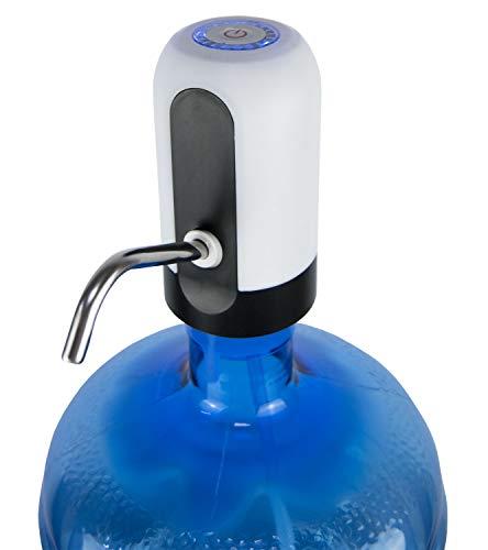Bomba de agua automática blanca. Dispensador de agua eléctrico. Bomba de agua para botellones y garrafas.