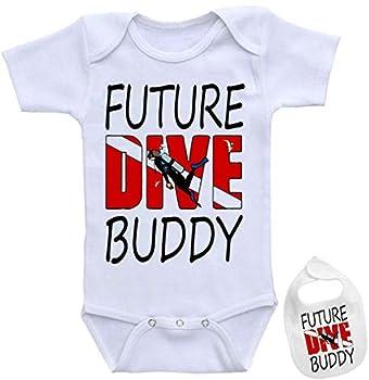 Future Dive Buddy -Cute Diving & Scuba Theme Baby Bodysuit Onesie & Bib Set