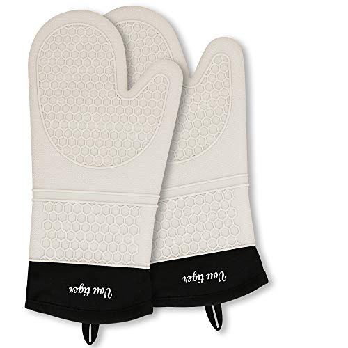 Vou tiger Oven Gloves Heat Resistant Waterproof Kitchen Silicone Mitts Non-Slip for Barbecue, Cooking, Baking (White)