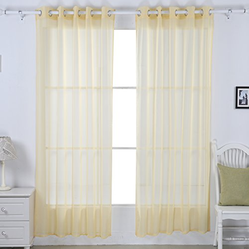 Deconovo Solid Grommet Voile Panels Tulle Sheer Window Curtains for Living Room, 52W x 84L Inch, Yellow Cream