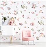 KAIRNE Wandtattoo Blumen Rosa, Grüne Pflanze verlässt Wandsticker, Romantisch Wanddeko Hintergrund für Schlafzimmer, Pfingstrose Flowers Wall Sticker, Wand Deko für Wohnzimmer Flur Fenste