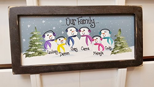 15 inch Personalized Snowman Family Painting, Handpainted, Custom, Grandma Christmas Present, Mom Gift