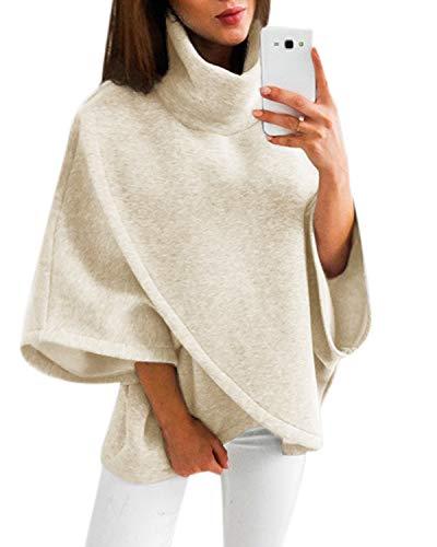YOINS Damen Pullover Oberteil Poncho Winter Warm Asymmetrische für Damen Pulli Cardigan Sweatshirt Rollkragenpullover Langarm Beige L