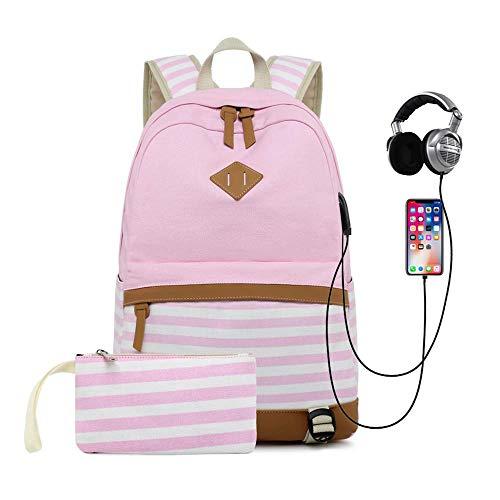 HFY Zaino per Scuola Zaino per Ragazze Zaino da Donna 15,6 Pollici Zaino per PC Portatile con Porta USB,Scuola Ragazza Zainetto Canvas Backpack Donne Zaino Tela per Scuola Viaggio (Rosa)