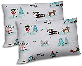 RADANYA Christmas Printed Pillow Cover Set Drawing Room Pillow Case - Off White,18x27 Inch
