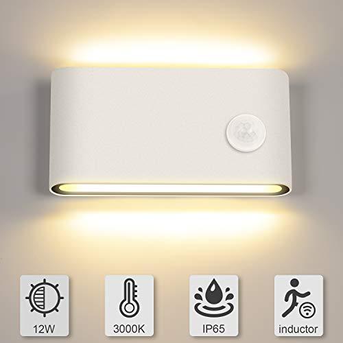 12W LED Wandleuchte Bewegungsmelder Aussen/Innen LED Wandlampe Warmweiß 3000K Up and Down Aussenlampe Wandbeleuchtung Sensor für Garten/Flur/Treppe/Garage IP65