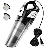 Meiyou Handheld Vacuum, 12000Pa High Powerful Corded Vacuum Cleaner, Wet & Dry Lightweight Hand Vac for Home and Car Cleaning, with 20ft Power Cord, 2 Filters-Black