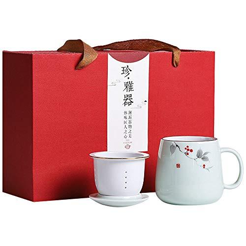 G-LIKE - Juego de 3 tazas de té de porcelana con tapa y colador, para hombre y mujer
