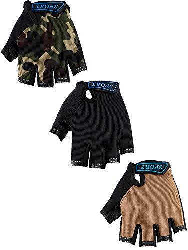 3 Pairs Kids Half Finger Gloves Sport Gloves Non-Slip Gel Gloves for Children Cycling Riding Biking (4-8 Years Size)