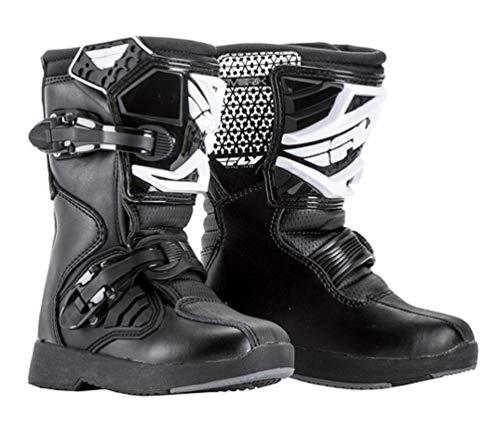 Fly Racing Maverick Kinder-Motocross-Stiefel für Jugendliche, Mini-Quad, Dirtbike, MTB, BMX, Rennsport, Schutzausrüstung, Mx Stiefel, Schwarz, Schwarz , Youth 13
