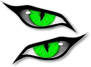 Paar Evil Eyes mit Grünem Iris Vinyl Drohne Motorrad Helm Auto Aufkleber Sticker 70x30mm Each