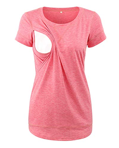 Love2Mi Camiseta premamá de manga corta para embarazadas., Pocket Pink, XL