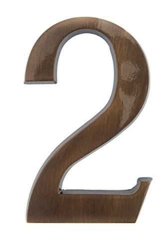 HUBER número de casa 2 de latón 20 cm I números de casa para puerta I número de casa XL I placas de número de casa en latón noble diseño 3D