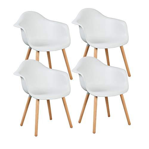 LLIVEKIT 4 xEsszimmerstühle,Schalenstuhl mit Armlehnen, 4er-Set Retro Stück Esszimmerstuhl mit Lehne Design und Holz Bein für Wohnzimmer Küche Büro Weiss