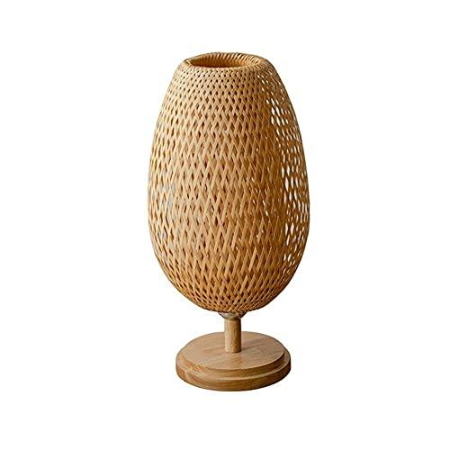 Zenghh Estilo retro de la linterna lámpara de mesa, Rattan Weaving Pantalla Base de Madera, Habitación Sala lámpara de escritorio de noche noche de la lámpara de Té Comedor Salón tatami de bambú de la
