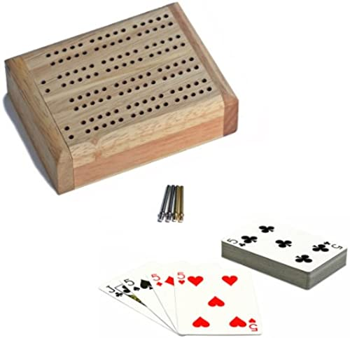 WE Games Mini Travel Cribbage Set - Solid Wood 2 Track Board with Swivel Top and Storage for Cards and Metal Pegs by WE Games