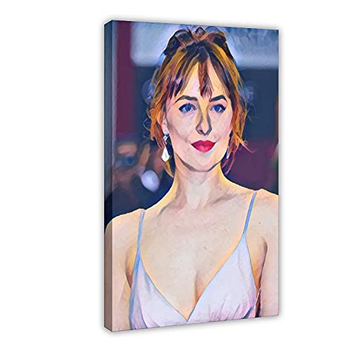 Póster de actor Dakota Johnson 2 en lienzo para decoración de la sala de estar, dormitorio, marco de 60 x 90 cm