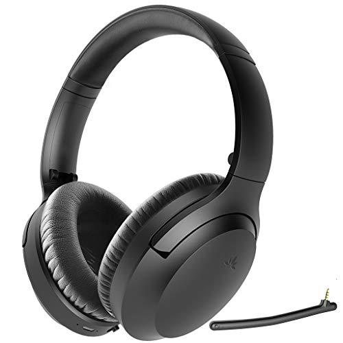 Avantree Aria Active Noise Cancelling Bluetooth Kopfhörer mit Abnehmbaren Mikro für PC Computer Telefon Anrufe, Guter Sound, Austauschbare Ohrmuscheln, 35H, Verkabelt & Kabellos ANC Over-Ear-Headset
