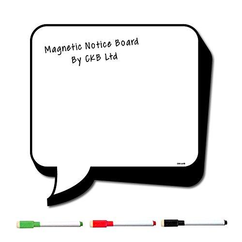 CKB Ltd® - Pizarra magnética con forma de bocadillo de cómic y rotuladores - Ideal para poner notas y planificadores en neveras - 32 x 32 cm