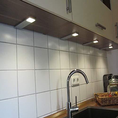 ACCE LED Unterbauleuchte Küchen Möbel Leuchte Warmweiß inkl Konverter ein Strahler mit Schalter Energieeffizienzklasse A (4er Set)