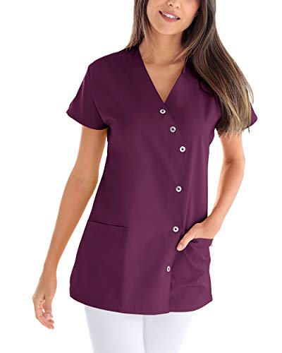 CLINIC DRESS Kasack für Damen V-Ausschnitt Druckknopfleiste für Krankenpflege und Altenpflege 50% Baumwolle 95 Grad Wäsche Pflaume 46