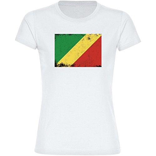 Multifanshop T-Shirt Fahne Retro Republik Kongo weiß Damen Gr. S bis 2XL - Fanartikel Fanshop Fußball Fanshirt Trikot, Größe:XXL