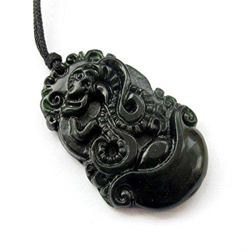 Ovalbuy Dunkle Farbe Naturstein Chinesisches Sternzeichen Fortune Schlange Boa Amulett Anhänger