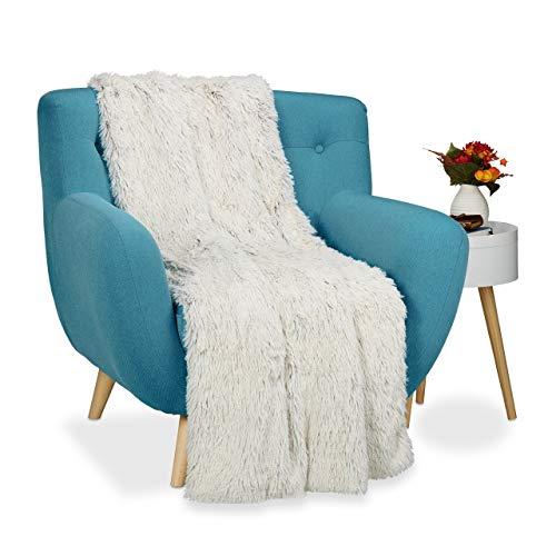 Relaxdays Couverture fausse fourrure moelleux plaid canapé doux salon jetée de lit dessus de lit, lxP 150x200 cm, blanc brun