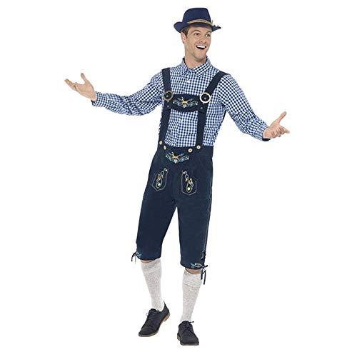 VEMOW Heißer Mann Oktoberfest Kostüm Original Lederhose bayerischen Bier Taverne Tops + Herren Pant Set + Hut(Marine, 48 DE/XL CN)