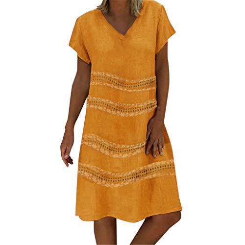 Damen Sommer Leinenkleid Große Größen,Sommer Frauen Mode Freizeit Gedruckt Sexy ärmellose Kleider Minikleider,Leinenkleider Damen Sommer Strandkleider Boho Kleid Tunika Kleid Etuikleid