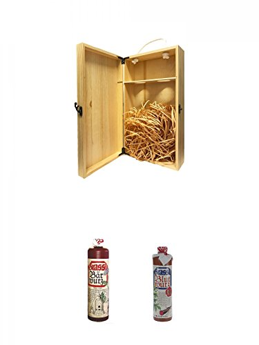 1a Whisky Holzbox für 2 Flaschen mit Hakenverschluss + Grassl Bärwurz Kräuterlikör Deutschland 0,7 Liter + Grassl Blutwurz Kräuterlikör Deutschland 0,7 Liter