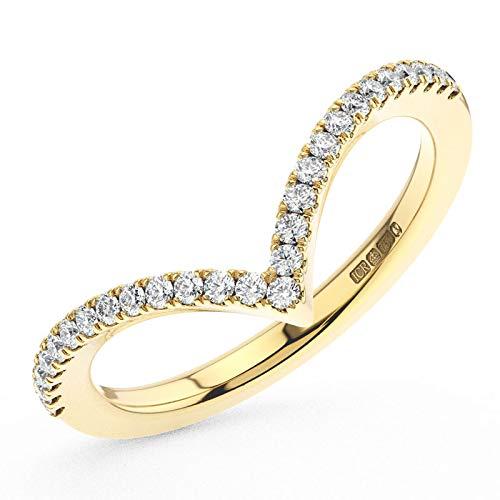 Anillo de eternidad con diamantes de corte brillante redondo de 0,15 quilates, en oro amarillo de 9 K