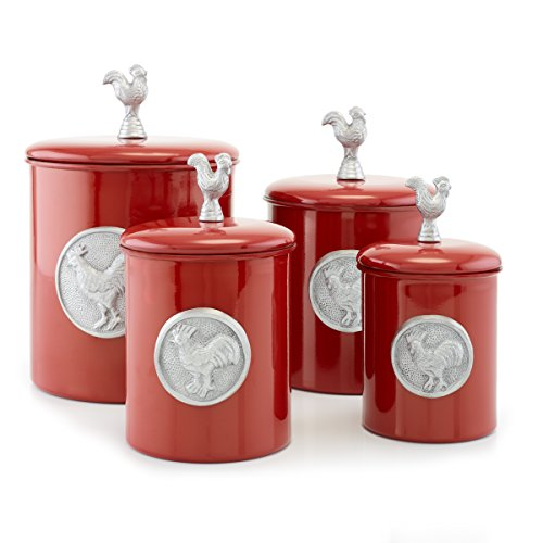 Old Dutch, Red 4 Piece Rooster Canister Set