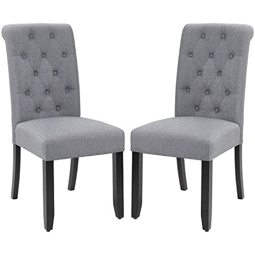 VICTONE Dining Chair Fabric Tufted Upholstered Design Armless Chair Set of 2 (Grey)