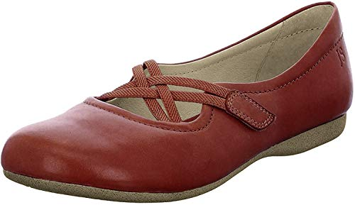Josef Seibel Damen Riemchenballerinas Fiona 39,Weite G (Normal),Flats,Slipper,Slip-ons,Sommerschuhe,Mary-Jane,Lady,Rot (Rubin),37 EU / 4 UK